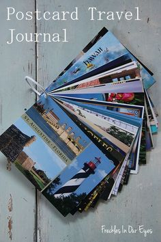 Postcard Travel Journal.  Buy postcards along the way of your trip and write what you did that day on the back: restaurants, funny stories, cool attractions. Don't forget to write the date!  Hole punch and attach to binder ring.