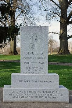 Single G. This memorial is located at the corner of North Green Street and West Parkway Drive in Cambridge City, Indiana. Standardbred Horse, Parkway Drive, Harness Racing, Green Street, Racehorse, Horse Racing, Cambridge, Indiana, Dan