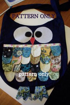 """Owl tote pattern f/s on Etsy - cute design :)  I have a pattern for similar """"scales"""" (from the fish drawstring bag), and several owl patterns that could be modified for a similar project :)"""