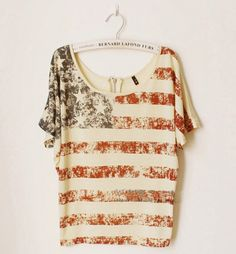 the zipper in the backs wicked cool Vintage Old American Flag Printed Short-sleeve T-shirt