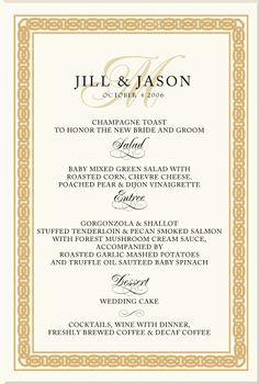 Wedding menu but instead of gold around the border it'll be light green