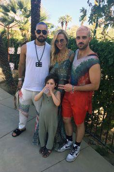 Rachel Zoe at the ZOEasis Coachella Party with Scott and John of Baja East.