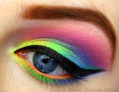 """The weather has been absolutely miserable here in Ireland so I thought """"what better way to brighten the day"""" by creating this neon makeup look :) Tutorial:http://www.youtube.com/watch?v=ztWN4XwXDaQ"""