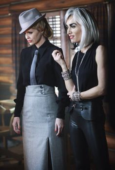 Maleficent and Cruella De Vil - Kristin Bauer van Straten and Victoria Smurfit in Once Upon A Time Season 4 (TV series).