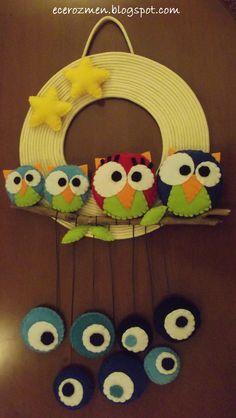 'baykuş ailesi' kapı süsü