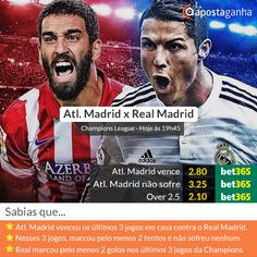 Dicas AG, Odds bet365 e Prognóstico para o escaldante dérbi de Madri entre #AtléticodeMadrid e #RealMadrid.  Qual é o teu prognóstico/aposta? http://www.apostaganha.pt/2015/04/14/prognostico-apostas-atletico-madrid-vs-real-madrid-liga-dos-campeoes-2-2/  #ucl  #AtléticoMadrid  #AtletiRealMadrid #cr7 #cristianoronaldo #apostas #UCL #apostasdesportivas #apostasonline