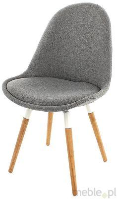 Tenzo Krzesło Donna Szare Tkanina Nogi Fido Drewniane, biały lakier - DonnaFido-BE-DB, Tenzo - Meble