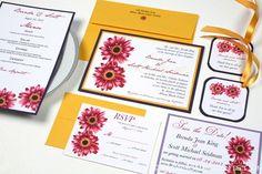 Gerbera Daisy Wedding Invitation by http://blossomaccents.com
