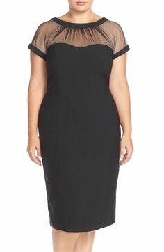 ddb3dfc944312 Maggy London Illusion Yoke Crepe Sheath Dress (Plus Size) | Nordstrom