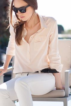 Black Sunglasses, Blush Pockets Blouse, White Denims