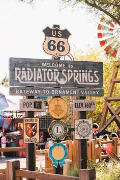 Welcome to Radiator Springs. Radiator Springs is a fictional town in the Cars series created as a composite of multiple real places on historic U. Route 66 from Kansas to Arizona. Route 66 Road Trip, Travel Route, Disneyland California, Disney California Adventure, Anaheim California, Disneyland Resort, Cars Land Disneyland, Orange California, Radiator Springs