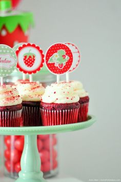 Free strawberry cupcake toppers. Berry Sweet Strawberry Valentine's Day Party with FREE printables! By Kara's Party Ideas for Canon.