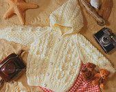 Baby Knitting Pattern Baby Aran Cardigans Hood Hat Childs Aran Cardigan 16-24inches Aran Yarn Baby Knitting Patterns PDF instant download