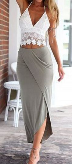 Looks I LOVE! Chic and Comfy Beach Fashion! Soft Comfy Skirt + White Floral Lace Halter Top #Chic #Comfy #White #Lace #Grey #Weekend #Style #Sexy #Summer #Beach #Fashion