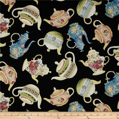 Timeless Treasures High Tea Metallic Tea Pots Black from @fabricdotcom  Designed by Chong-A Hwang for Timeless Treasures, this cotton print fabric is perfect for quilting, apparel and home decor accents. Colors include metallic gold, blue, pink, sage and white on a black background.