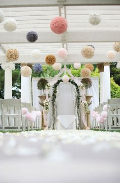 Don't like the pom poms, but good idea for a backdrop with flower arrangements either side.
