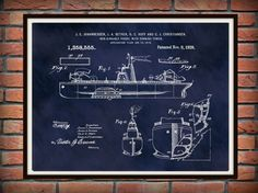 Patent 1920 Unsinkable Ship Battle Ship by BlueMoonPatentPrints