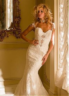 Buy discount Stunning Tulle Sweetheart Neckline Mermaid Wedding Dresses With Lace Appliques at Dressilyme.com