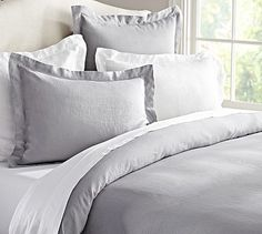 Linen Duvet Cover & Sham from Pottery Barn...LOVE LOVE the smokey color with bright white sheets!