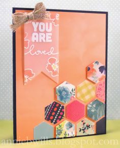 "A pretty springtime card made using the ""Thinking of You"" stamp set from Simon Says Stamp, my small Fiskars hexagon punch, and patterned paper from the ""Fresh Cuts"" collection from Basic Grey."