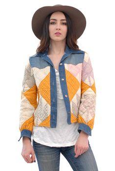 Swedish Girl Quilted Patchwork Denim Jacket | Spanish Moss