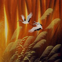 This depicts two cranes taking flight punctuated by the golden glow of the Autumn sun as it illuminates the reed grass. Japanese Crane, Japanese Art, Chinese Painting, Chinese Art, Koi Art, Bird Illustration, Illustrations, Asian Art, Watercolor Paintings