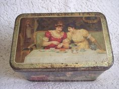 1890's era Old Tea Tin with Color Scenes ~ Large 3 lbs size MAZAWATTEE from…
