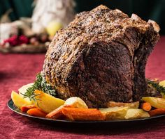 Herb-Crusted Beef Rib Roast with Potatoes, Carrots, and Pinot Noir Jus recipe