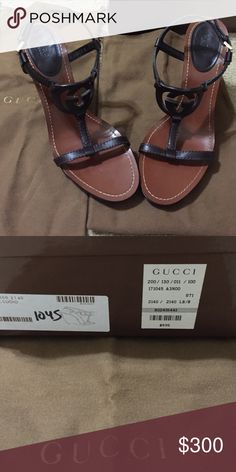 Beautiful GUCCI brown leather logo sandals-💜💜💜 GUCCI logo sandals- be all the rage with this stylish and fashionable shoe. The double G right over the toe is simply gorgeous! Authentic Gucci-comes with box and duster bags. Also have original receipt. These are in great shape-wore them once to an event. These wedges are made from brown and black leather and adorned with a 'G' cutout at the vamps. Comfortable and cool, they come with 12cm high heels and brown leather lined insoles. Gucci…