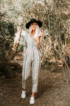 The Leverett Button Jumpsuit in Blue Stripe Jumpsuit Outfit, Casual Jumpsuit, Navy Jumpsuit, Jumper Outfit, Striped Jumpsuit, Black Romper Shorts, Chic Outfits, Fashion Outfits, Piper And Scoot