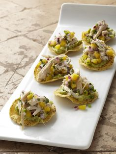 Mini Chicken and Mango Tostadas Recipe : Food Network Kitchen : Food Network Yummy Appetizers, Appetizers For Party, Appetizer Recipes, Party Nibbles, Party Recipes, Party Snacks, Snack Recipes, Dinner Recipes, Tamales