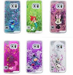 Bling Bling Samsung Galaxy S7, S7 Edge Cartoon Cute Olaf Stitch Mouse Cat Liquid Star Glitter Case Cover