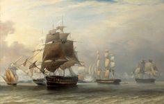 "A take on the climax of the Battle of St Vincent by an unknown 19th century artist, showing the two Miguelists' ships of the line ""Nau Rainha"" and ""Dom João"" in the centre and on the far right, towering over Napier's frigates"