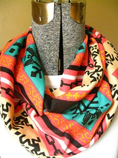 Tribal Coral Turquoise Cream Black Infinity by UnendingScarves