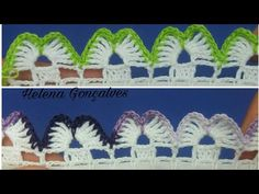 Bico de crochê #204 - YouTube Crochet Stitches Patterns, Lace Patterns, Stitch Patterns, Crochet Blanket Edging, Crochet Baby, Crochet Projects, Tatting, Diy And Crafts, Kawaii