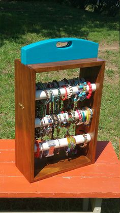 Custom Wood Jewelry Display Craft Show Organizer Engraved