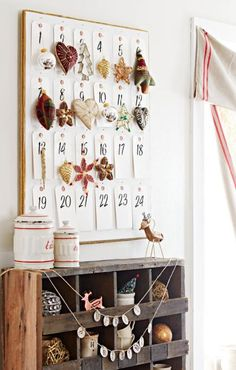 We love this DIY Advent calendar, an idea from Michigan flea-market aficionado Maria Marcusse. Here's how to make it: http://www.midwestliving.com/holidays/christmas/6-ways-to-craft-a-merry-little-christmas/?page=5