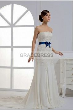 Buy A-line Court Train Strapless Lace A line Wedding Dresses A0136 With Quality Guarantee, 7 Days Return Polciy And Free Shipping to UK.