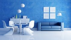 Modern Contermporary White Blue Living Dining Areas
