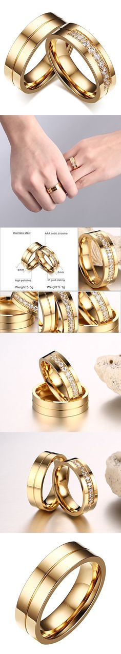 INRENG Stainless Steel Cubic Zirconia Couple Ring Promise Engagement Wedding Bands for Men Gold Size 10