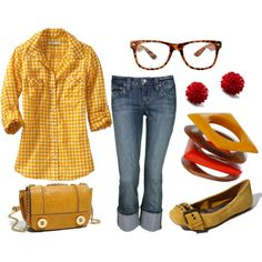 yellow gingham button-up shirt, replace capris with boyfriend jeans or skinny jeans, yellow buckle flats, and nerd glasses. nerdy, preppy, casual, country, hangout, school, spring outfit.