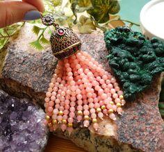 Beaded Tassels, Boho Beaded Necklace, Tassel Jewelry, Long Tassel Necklace, Antique Bronze Gemstone Tassel with Faceted Pink Jade Beads