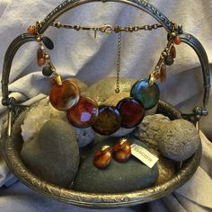 """Chico's Jewelry Set Beautiful, multi-colored """"disc"""" necklace in rich autumn colors - olive, rust, gold, brown, orange, sage, bronze and forrest green with gold tone and stone accents. Very elegant and sophisticated. A wardrobe staple as it goes with everything fall and natural. Chico's Jewelry Necklaces"""