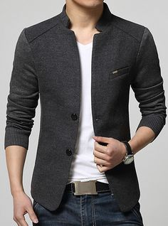 Men's Daily Street chic Spring / Fall Plus Size Regular Blazer, Solid Colored Stand Long Sleeve Cotton / Acrylic / Polyester Gray / Navy Blue / Wine XL / XXL / XXXL / Business Casual / Slim 2018 - US $50.15