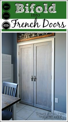 Builder basic bifold door makeover, into stylish French doors tutorial from Sa. - Diy Home Decor French Closet Doors, French Doors Patio, Bifold To French Doors, Double Doors, Closet Door Makeover, Door Redo, Closet Redo, Hall Closet, Hollow Core Doors