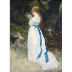 Trademark Fine Art Lady In White Canvas Art by Pierre-Auguste Renoir, Size: 35 x 47, Multicolor
