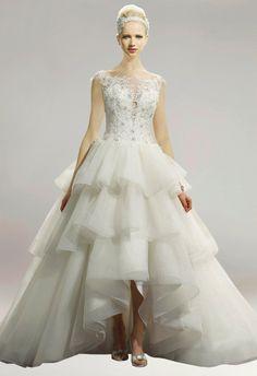 Off Shoulder Scoop Neck Tiered A-Line Asymmetric Hem Bridal Wedding Dress