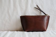 Hand Stitched Dark Brown Leather Pouch by ArtemisLeatherware, Etsy