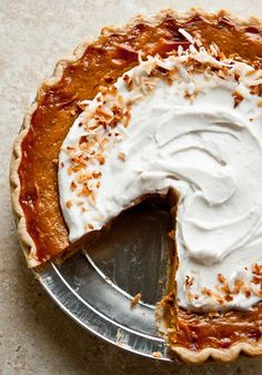 Pumpkin Coconut Pie with Orange-Spice Filling. Coconut whipped cream on top!