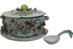 Vintage Italy Soup Tureen   Italian Soup Tureen & Ladle Italian Soup, Ceramic Design, Porcelain Ceramics, Serving Platters, Afternoon Tea, Decorative Bowls, Flora Danica, Soup Bowls, Pottery